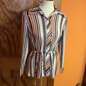 Vintage 70s belted striped knit button down shirt